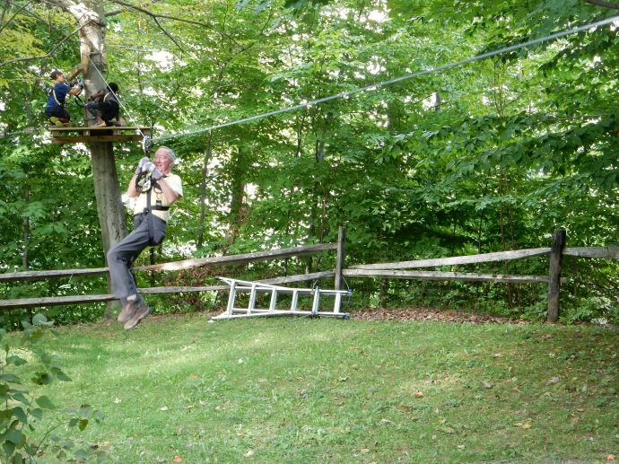 Ed on the not-so-tall zip line on basic course