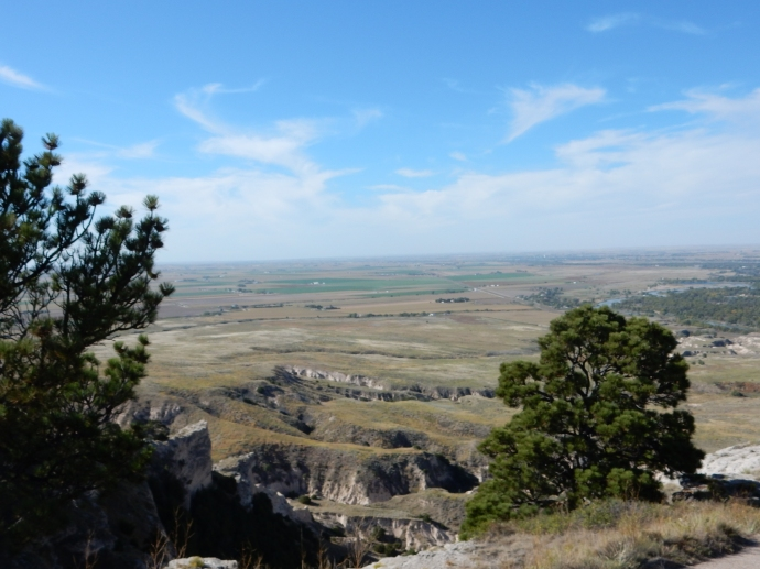 Looking west from the top of Scotts Bluff, North Platte River at right edge center