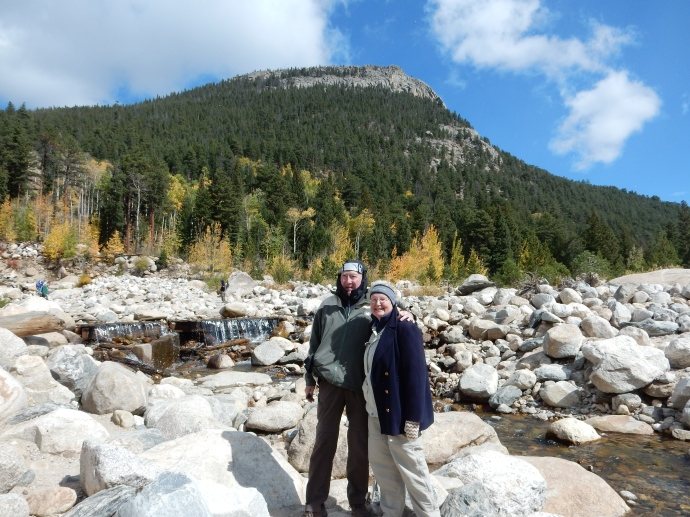 Ed and Chris walking on boulders at Alluvial Fan, Rocky Mountain National Park