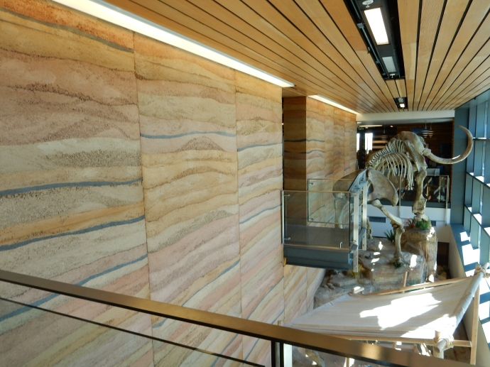 Rammed earth wall at Wyoming Visitor Center