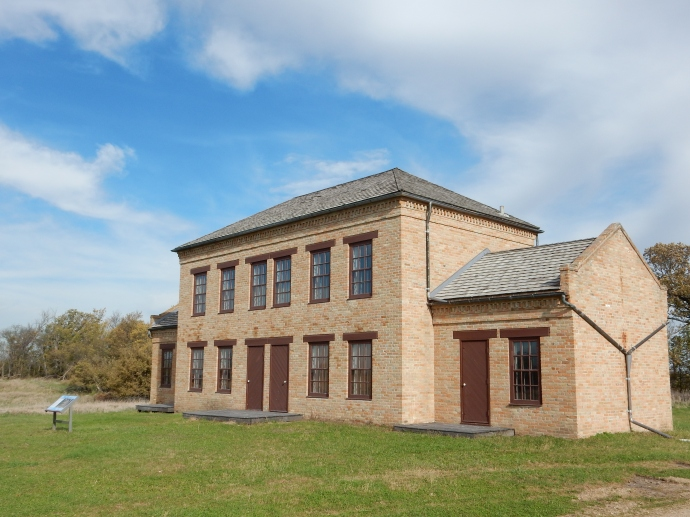 The reconstructed dormitory building at Upper Sioux Agency