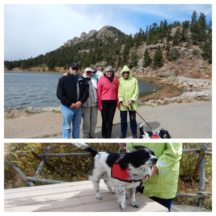 Tony, Chris, Bernie and Jude at Lily Lake--top. Lacey's fur blowing in the wind --bottom