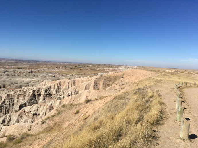 Prairie to the right, badlands to the left
