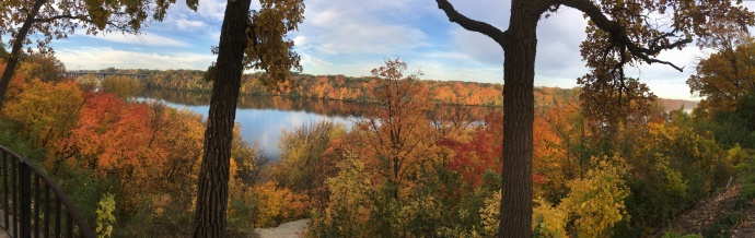 Panorama view of Mississippi River in the Twin Cities
