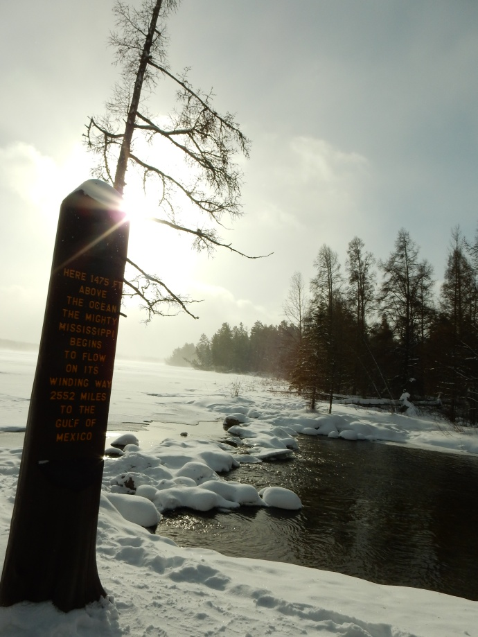 Mississippi River Headwaters marker as the river exits Lake Itasca