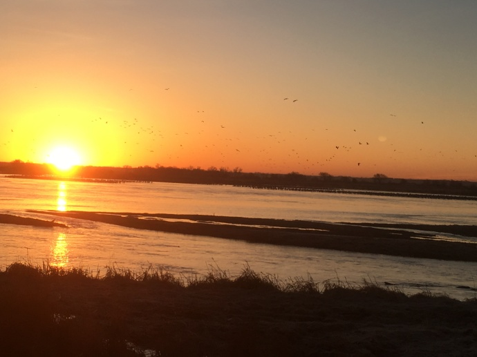 Sunrise on the Platte River from the Crane Trust blind